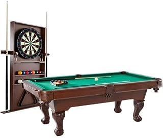 BARRINGTON 90 Inch Ball and Claw Leg Billiard Pool Table with Bonus Cue Rack and Dartboard Set