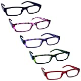 The Reading Glasses Company Valore 5 Pacco Leggero Uomo Donna Blu Rosa Porpora Verde Rosso Rrrrr32-3456Z +2,00 - 106 Gr