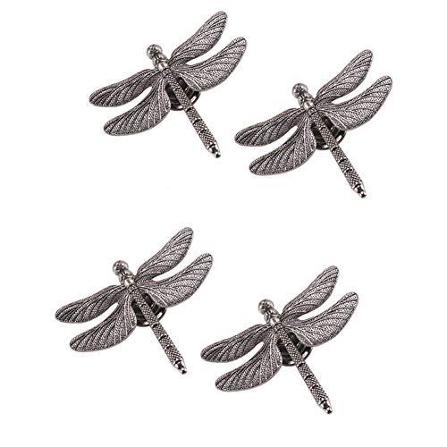luluxing 4 pomos para aparador, diseño de libélula de plata antigua, con forma de libélula, para cajones, decoración de muebles, pomos de armario, tiradores de armario