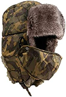 CakeLY Winter Thicken Wind Cold-Proof Hat Hunting Hat for Men and Women Ear Flap Chin Strap and Windproof Mask