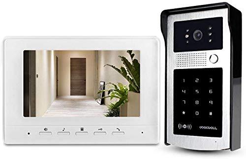Lsmaa 7inch Intercom Video Deurbel Telefoon Systeem Indoor Monitor 25 Ringen met Regendichte Outdoor Camera IR Nachtzicht met 125KHz RFID Key Kaarten