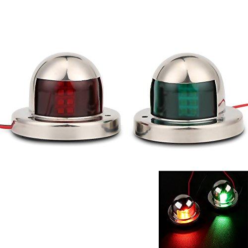 Youngine LED Navigation Bow Light Acero inoxidable 12V Marina Barco Yate Luz Vela Lámpara de señal, rojo y verde