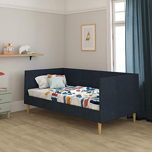 DHP Franklin Mid Century Upholstered Daybed, Sofa Bed, Twin Size Frame, Blue Linen