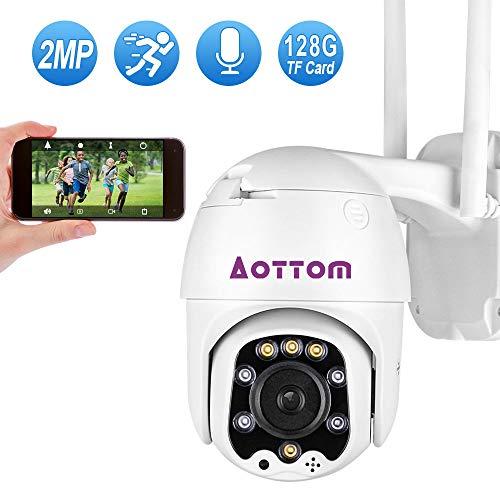 Aottom 1080P PTZ IP überwachungskamera Aussen, 360° Drehen IP Dome Kamera, 2MP Überwachungskamera WLAN, 2 Wege Audio 40M IR-Nachtsich, Bewegungserkennung, IP66 Wasserfest, Unterstützung 128G SD Karten
