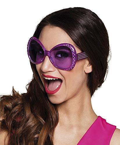 TH-MP Gafas de fiesta retro para mujer de los años 60 y 70, gafas XXL Shades lila con piedras plateadas