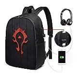 World of Warcraft Horde Backpack Travel Laptop Backpack Unisex Lightweight with USB Charging Port Backpack 17 in