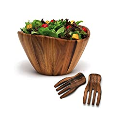 Lipper International Acacia Wave Bowl with Salad Hands Review