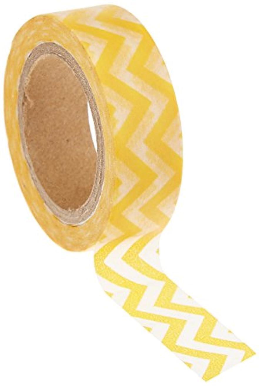 Wrapables Striped Japanese Washi Masking Tape, Yellow Chevron