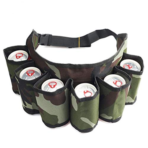 Sac à Dos Pique-Nique Hamper 6 Pack Holster Bouteille Portable Taille bière Ceinture Handy Bag Bouteilles de vin Beverage Can Holder Randonnée d'escalade en Plein air (Couleur : Camouflage Color)