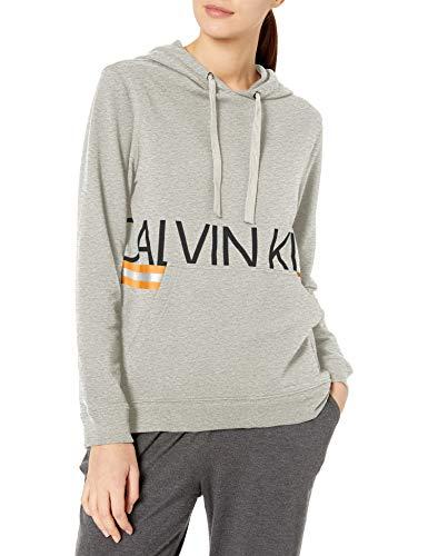Calvin Klein Women's Neon Long Sleeve Hoodie, Grey Heather, XS