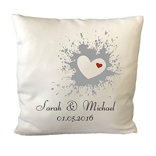 GravurXXL Hochzeitskissen mit individuellem Druck - Romantisches Kissen als Gastgeschenk - Hochzeitsgeschenke Kopfkissen Schmusekissen