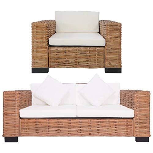 UnfadeMemory Conjunto Muebles de Jardin Exterior,Sofás de Jardín,con Cojines y Almohadas,Ratán Natural (Sillón y Sofá de 2 Plazas)