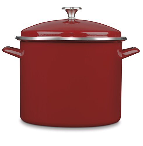 Cuisinart Chef#039s Classic Enamel on Steel Stockpot with Cover 12Quart Red