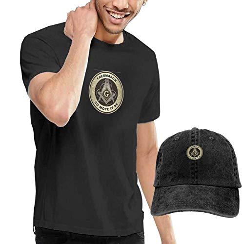 SOTTK Herren Kurzarmshirt Freemason So Mote It Be Men's Short Sleeve T Shirt & Washed Adjustable Baseball Cap Hat