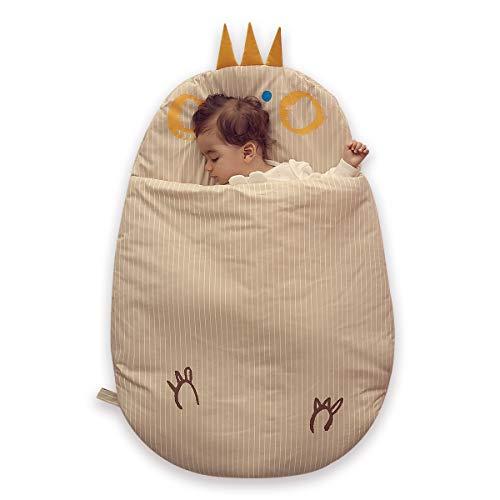 Bebamour Anti Kick Baby Sacco a Pelo Safe Nights Sacco a Pelo Baby in Cotone 2.5 Tog 0-18 Mesi e sopra Cute Infant Boy Sacco a Pelo Baby Wrap Blanket (Khaki)