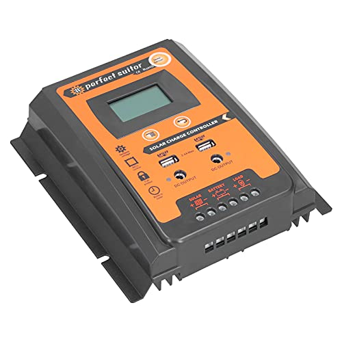 CUTULAMO Solar Panel Charge Controller, Waterproof PWM Solar Charge Controller Solar Charge Controller 50A for Button Operation