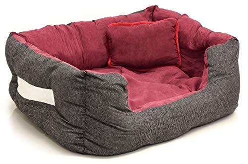 EYEPOWER Katzenbett Hundebett 50x45x18 cm Katzenkissen Hundekissen Waschbar Tierkissen Tierbett Innenkissen Rot