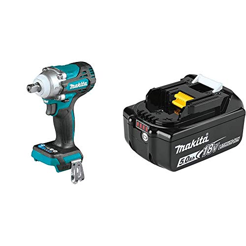 Makita XWT15Z 18V LXT Lithium-Ion Brushless Cordless 4-Speed 1/2' Sq. Drive Impact Wrench w/ Detent Anvil with BL1850B 18V LXT Lithium-Ion 5.0Ah Battery