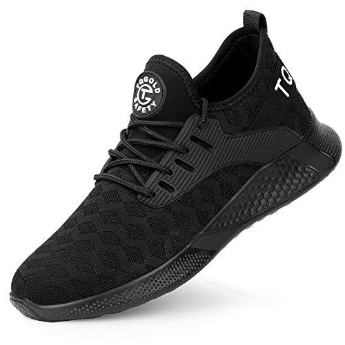 [tqgold] 安全靴 スニーカー メンズ レディース 作業靴 超軽量 鋼先芯 KEVLARミッドソール 軽量 通気性 耐滑 耐摩耗 衝撃吸収 クッション性 おしゃれ 男女兼用 大きいサイズ (黒 28.0cm)
