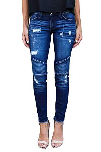 Yidarton Jeans Damen Jeanshosen Röhrenjeans Skinny Slim Fit Stretch Stylische Boyfriend Jeans Zerrissene Destroyed Jeans Hose mit Löchern Lässig (Blau,XL)