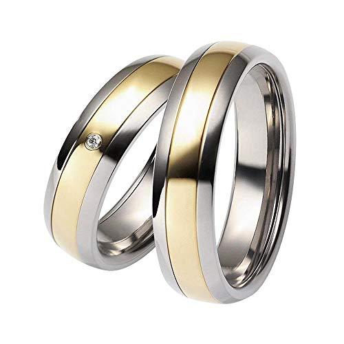 CORE by Schumann Design Trauringe Eheringe aus 585 Gold Gelbgold/Titan Bicolor mit echten Diamanten GRATIS Gravur 19006413