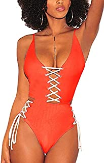 727a851df0379 QINSEN Women's Sexy V Neck Lace Up Cutout High Waisted One Piece Monokini  Swimsuit