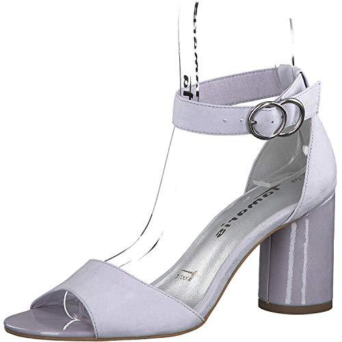 Tamaris Damen Sandaletten 1-1-28021-32, Frauen Sandaletten,Sommerschuhe,offene Absatzschuhe,hoher Absatz,feminin,Touch-IT,Light Lavender,39 EU