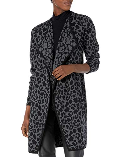 Vince Camuto Damen Cheetah Open Front Cardigan Pullover, Medium Heather Grey, X-Groß