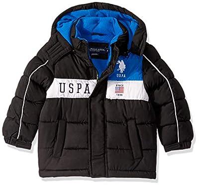 US Polo Association Boys' Little Bubble Jacket (More Styles Available), Chest Stripe Black/Black, 5/6