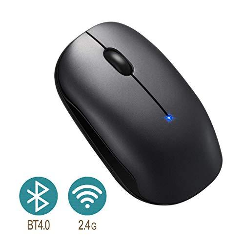 TOPELEK Bluetooth Maus, Kabellose Maus, 4.0 & 2.4G Wireless Laptop Maus mit Einstelleable, Funkmaus mit 2400 DPI & USB Nano Empfänger Für PC Laptop iMac MacBook Microsoft Pro, Office Home Schwarz