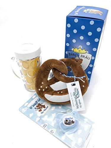 3er Set Geschenkidee für Babys zur Geburt Geschenkset für Neugeborene Nuckelkrug Schnuller O'zapft is Rassel-Breze MADE IN GERMANY …