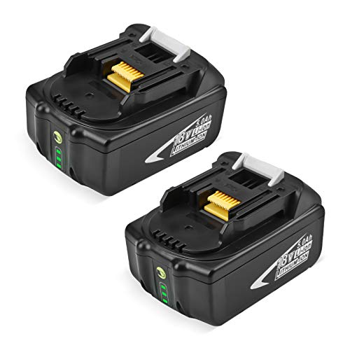 2 x Pièces FirstPower 18V 5.0Ah Li-ION Batterie de Remplacement pour Makita 18V BL1860 BL1850 BL1840 BL1830 BL1820 BL1815 BL1820B BL1815B avec indicateur LED
