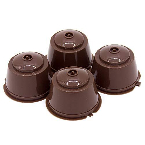 Prenine Cápsula De Café, CáPsula De Plástico Recargable Reutilizable para Máquinas De Café Dolce Gusto con Cuchara (Paquete De 4) (Marrón)