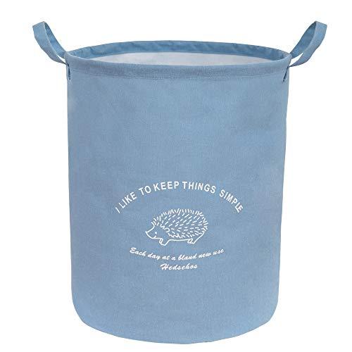 ランドリー バスケット 洗濯かご 折りたたみ式 収納ボックス 綿麻製 撥水加工 取っ手付き おしゃれ 雑貨整理 大容量40*45cm 約60L ブルー
