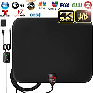 [2020 LATEST] Amplified HD Digital TV Antenna Long 180 Miles Range – Support 4K 1080p Fire tv Stick and All Older TV's Indoor Powerful HDTV Amplifier Signal Booster – 18ft Coax Cable/AC Adapter