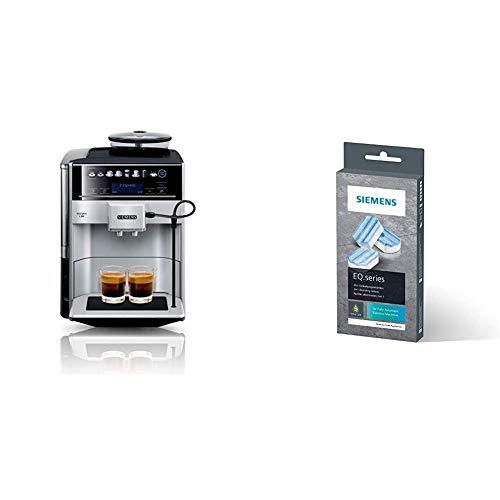 Siemens EQ.6 plus s300 Kaffeevollautomat TE653501DE, Dampf-Reinigung, Doppeltassen-Funktion + Entkalkungstabletten TZ80002A, schützt vor Korrosion, für Kaffeevollautomaten der EQ.Serie