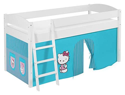 Lilokids Lit Mezzanine IDA 4105 Hello Kitty Turqoise - Système de lit évolutif Convertible Blanc - avec Rideau