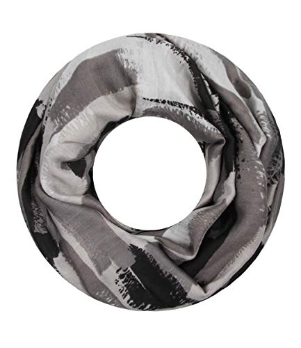 Majea Damen Loop Schal viele Farben tolle Muster Schlauchschal Halstücher (grau 14)