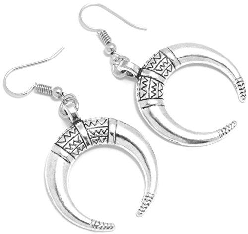 2LIVEfor Ohrringe Silber Halbmond Reifen Spitz Zeichen Muster Ohrringe lang Hängend Groß Antik Optik Rund Ohrringe Bohemian Ethno Barock Ornamente Vintage