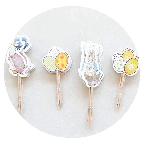 24 piezas de huevos de Pascua para decoración de tartas de boda, cupcakes, decoración de fiesta de cumpleaños, suministros para fiestas de bebés y niños Color