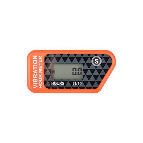 Runleader Digitaler kabelloser Betriebsstundenzähler mit eigener Stromversorgung, vibrationsaktivierter, rücksetzbarer Job-Timer, Benutzersperre für den Generator Marine Lawn Mower (Orange)