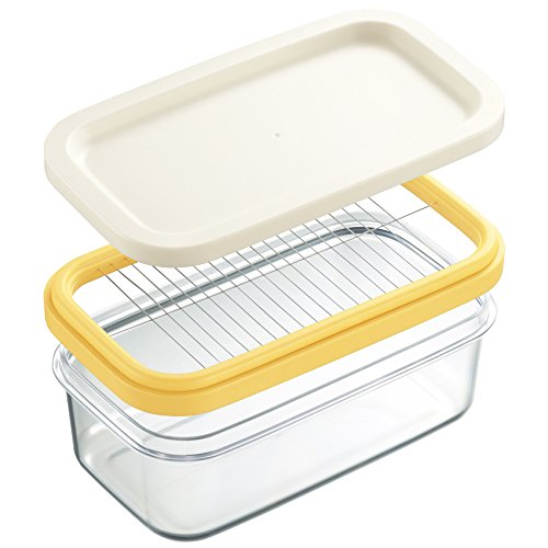 セシール バターケース ホワイト 約16.5×9.5×高さ6.8cm カットできちゃう 簡単 ギュッと押すだけ WF-799