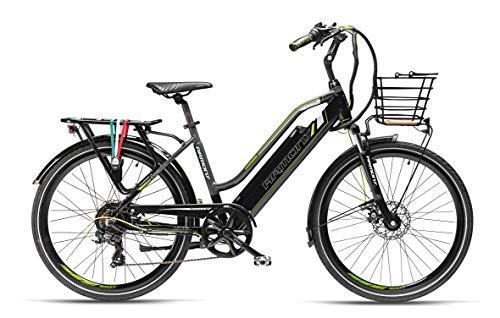 Armony Cortina, Bicicletta Elettrica Unisex Adulto, Nero Grigio, 26'