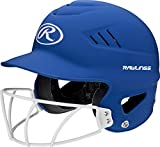 Rawlings Highlighter Series Coolflo Youth Baseball/Softball Batting Helmet with Face Guard, Matte Royal Blue, 6-1/2-7-1/2