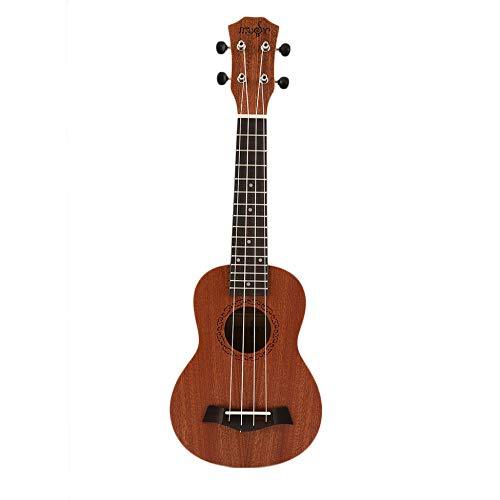 Jullyelegant 21 Pollici Soprano Acustico Ukulele Chitarra elettrica 4 Corde Ukelele Guitarra Artigianale Legno Bianco Chitarrista Mogano Plug-in Caldo - Marrone