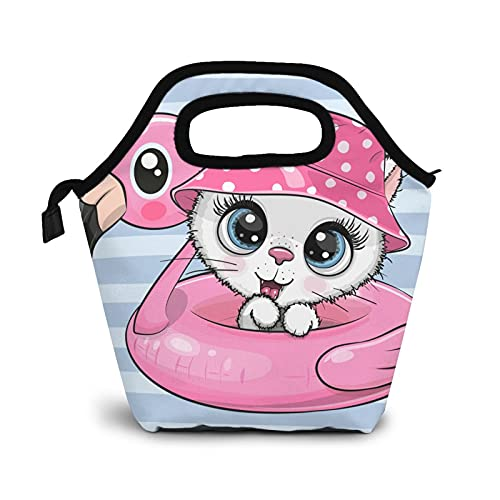 Cute White Cat Lunch Box Insulated Durable Meal Bag Cartoon Pink Hat Decoration Reusable Waterproof Snack Bag Portable Food Container Tote Bags For College Work Picnic Hiking Beach Fishing