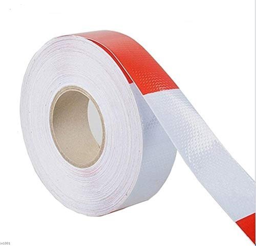 Car Truck Reflective Safety Tape Warning Conspicuity Roll Tape Film Sticker Self-Adhesive Hazard Warning Sticker Red White (Size : 36M)