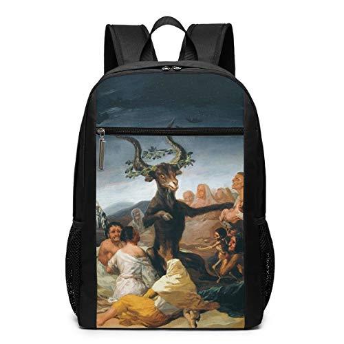 GgDupp Rucksack, Motiv: Gemälde der Hexen Sabbath von Francisco Goya Schulranzen, Reiserucksack, 43,2 cm (17 Zoll) Laptoptasche, Polyester, Schwarz, Einheitsgröße