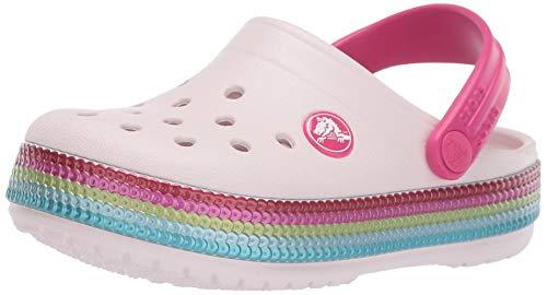 Crocs Crocband Sequin Band Clog K, Zoccoli Unisex-Bambini, Rosa (Barely Pink 6pi), 30/31 EU