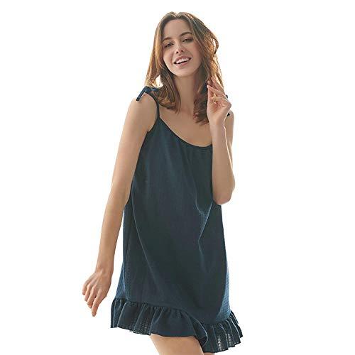 Correas de camisón Faldas de Pijama Sexy y Delgadas Faldas Sueltas y Tirantes de Albornoz de camisón de Talla Grande-Cian_L